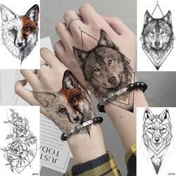 DIY геометрический Животные лиса завод Временные татуировки Для женщин пикантные Водонепроницаемый одноразовые черный татуировки тела арт