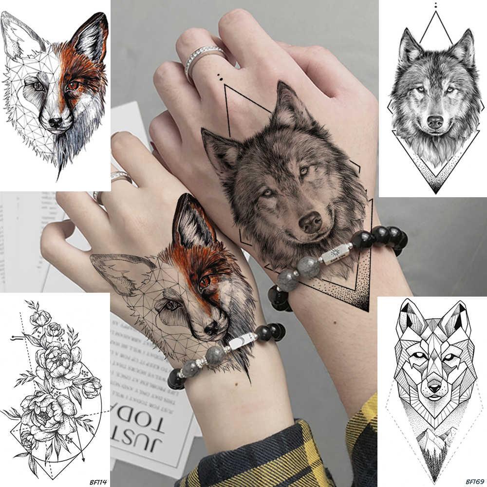 Diy animais geométricos raposa planta tatuagem temporária mulheres sexy à prova dwaterproof água descartável preto tatoos corpo arte pintura tatuagem adesivos