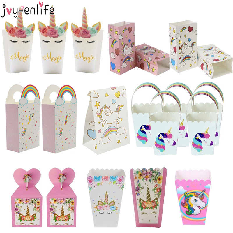 Joy-Enlife 1set Unicorn Paper Popcorn Box Gift Candy Cookies Bags 1st Kids Birthday Party Decorations Bags Baby Shower Supplies