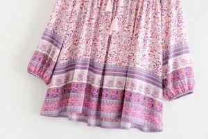 Image 3 - Винтажное шикарное женское розовое платье с цветочным принтом, длинным рукавом, бахромой и оборками, Пляжное богемное мини платье, женское свободное платье бохо из вискозы с V образным вырезом