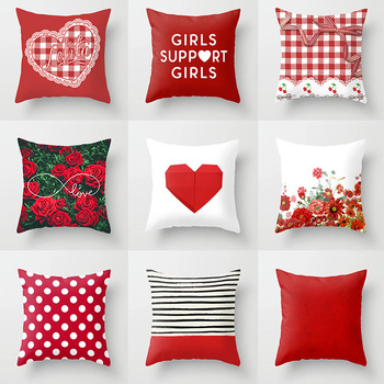 Red Plaid Cushion Cover Flowers Heart Wave Point Print Decorative Pillow Covers for Sofa Bedroom Living Room Home Decor 45*45cm 2019 newest plaid pillow case 45 45cm cotton and linen pillow cover elastic cushion cover for living room bedroom office decor