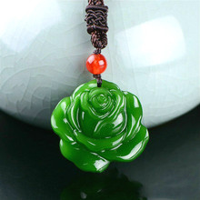 Pendant Necklace Jewelry Rose-Flower Jadeite Natural Charm Amulet Gifts Hand-Carved Women