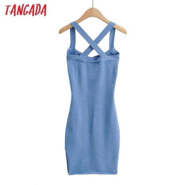 Tangada 2021 fashion women solid elegant summer knit dress strethy strap sleeveless ladies short dress 4P46 6