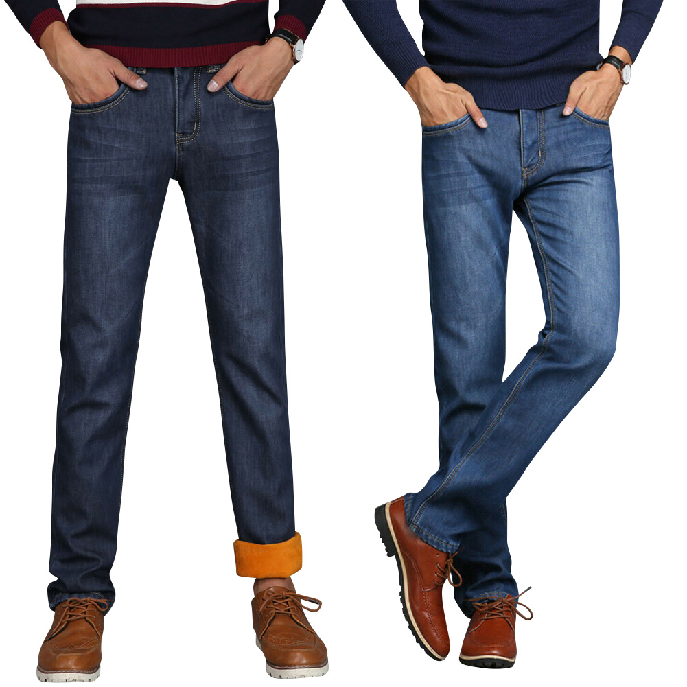 Men Winter Thermal Jeans Fleeced Lined Denim Long Pants Casual Warm Trousers For Office Travel QL Sale