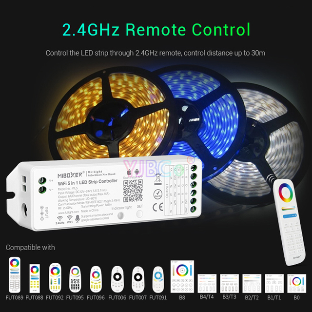WL5 2.4G 5 IN 1 WiFi LED Led Strip Controller 15A Single color CCT RGB RGBW RGB+CCT lamp tape dimmer MiBOXER