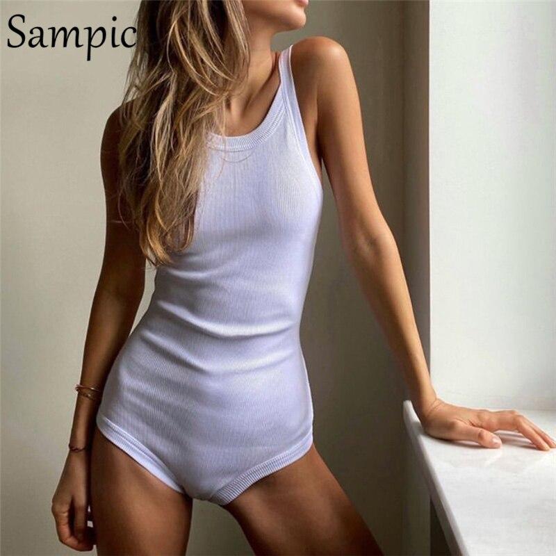 Sampic Sexy Women Strap Bodysuit Casual Elastic O Neck Backless Black White Body Tops Summer Short Skinny Romper