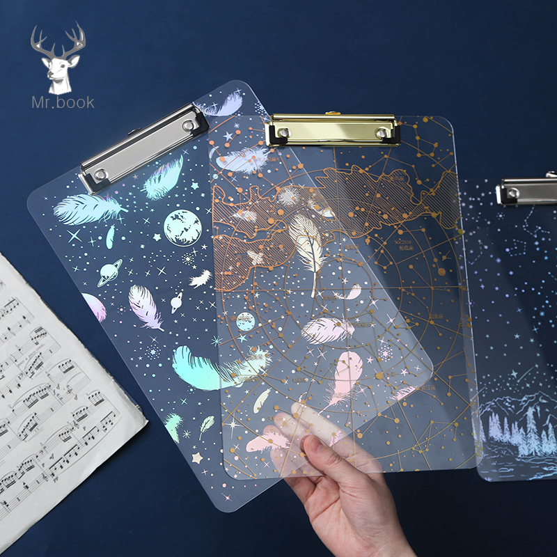 Laser Hot Stamping Starry Sky Document File Folder A4 Board Clip Student Stationery Plastic Writing Hard Board School Supplies
