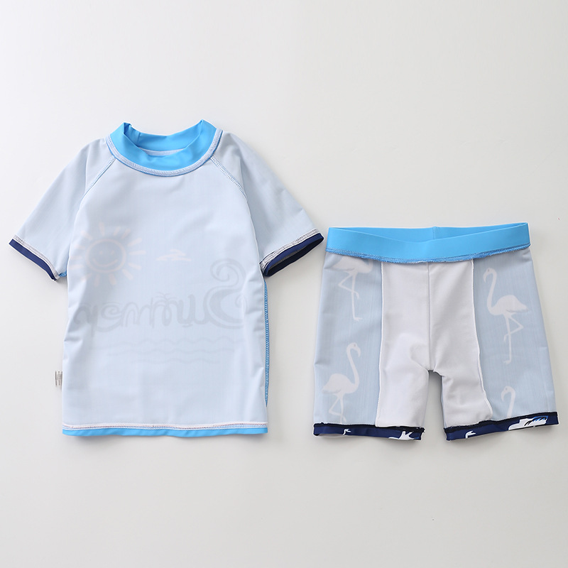 KID'S Swimwear Men's Split Type South Korea Baby Large Children Infants Tour Bathing Suit Blue Flamingo Swimsuit For Boys
