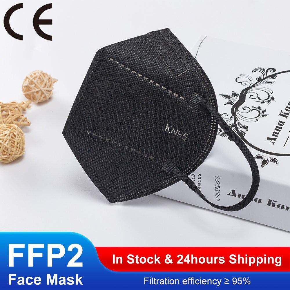 50/100Pieces mask kn95 ffp2mask CE Dust masque ffp 2 masks fpp2 ffp2 masks for face mascherine Black masks ffpp2 mascarillas
