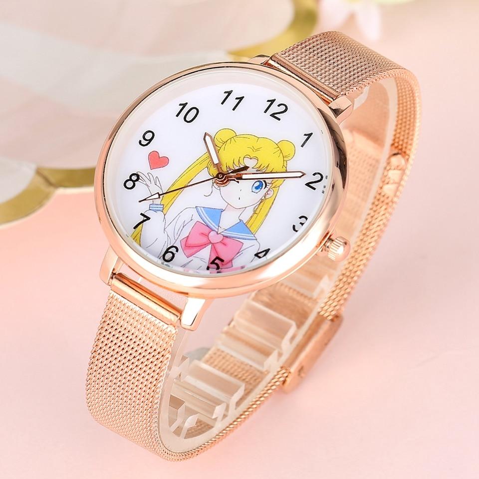 Sailor Moon Women's Bracelet Watch Fashion Rose Gold Mesh Band Quartz Ladies Clocks Female Watches Hours Gifts Relogio Feminino