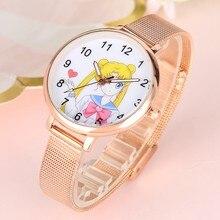 Sailor Moon – montre-Bracelet à Quartz pour femmes, en maille or Rose, à la mode, pour dames, cadeaux