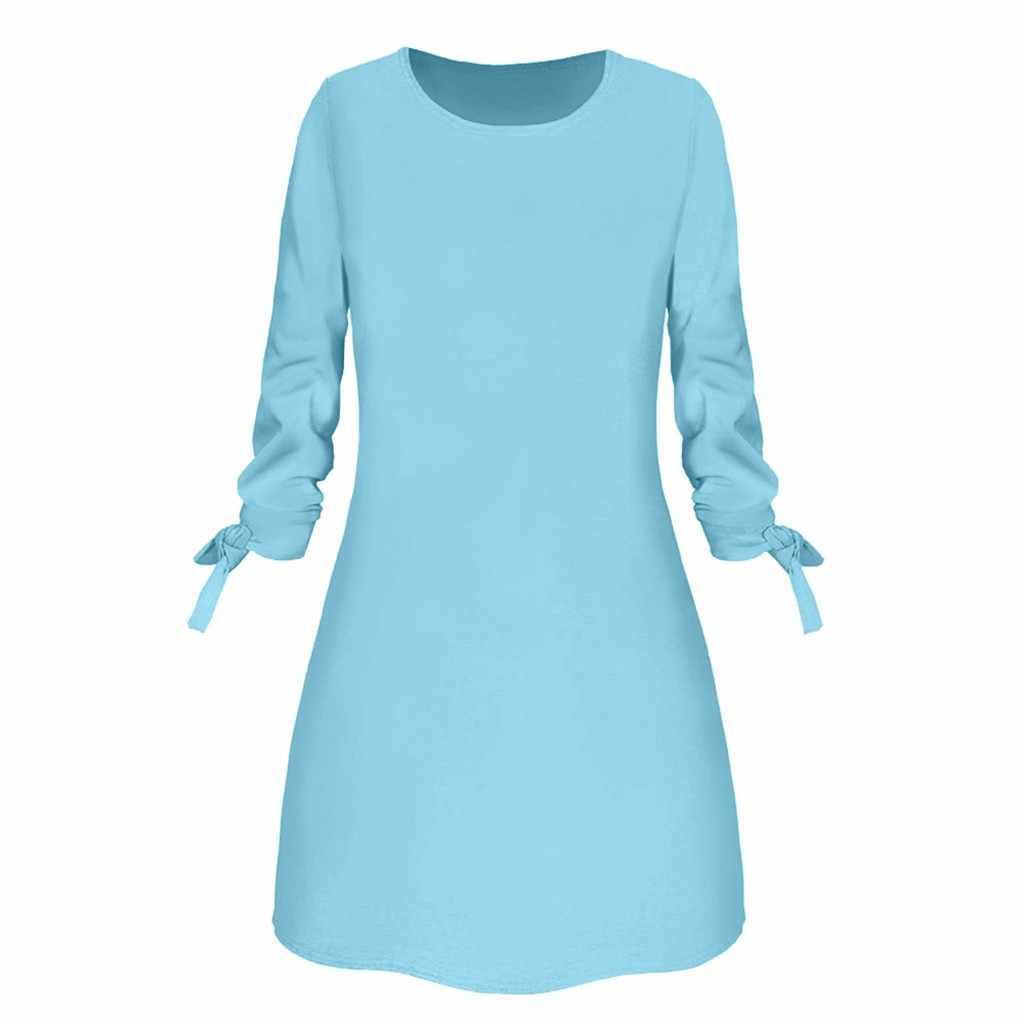 אביב חדש אופנה מוצק צבע שמלה מזדמן O-צוואר רופף שמלות 3/4 שרוול קשת אלגנטית חוף נקבה Vestidos בתוספת גודל # l35