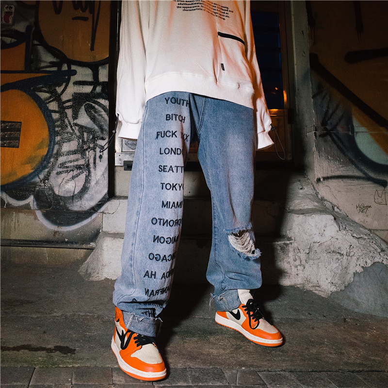 2019 Streetwear Hip Hop Men  Fashion Jeans Pants,Distressed  Loose Distressed Full Length,Destroy Wash Wide Leg Pants