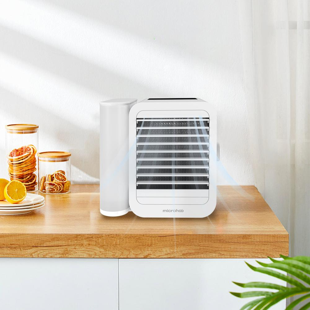 MICROHOO 6W 1000ml Water Capacity Mini Air Conditioner Touch-Screen 99-speed Adjustment Energy Saving Timing Cooling Fan