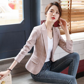 Small suit coat Women's Small suit women's thin pink suit small western style Plaid casual 1