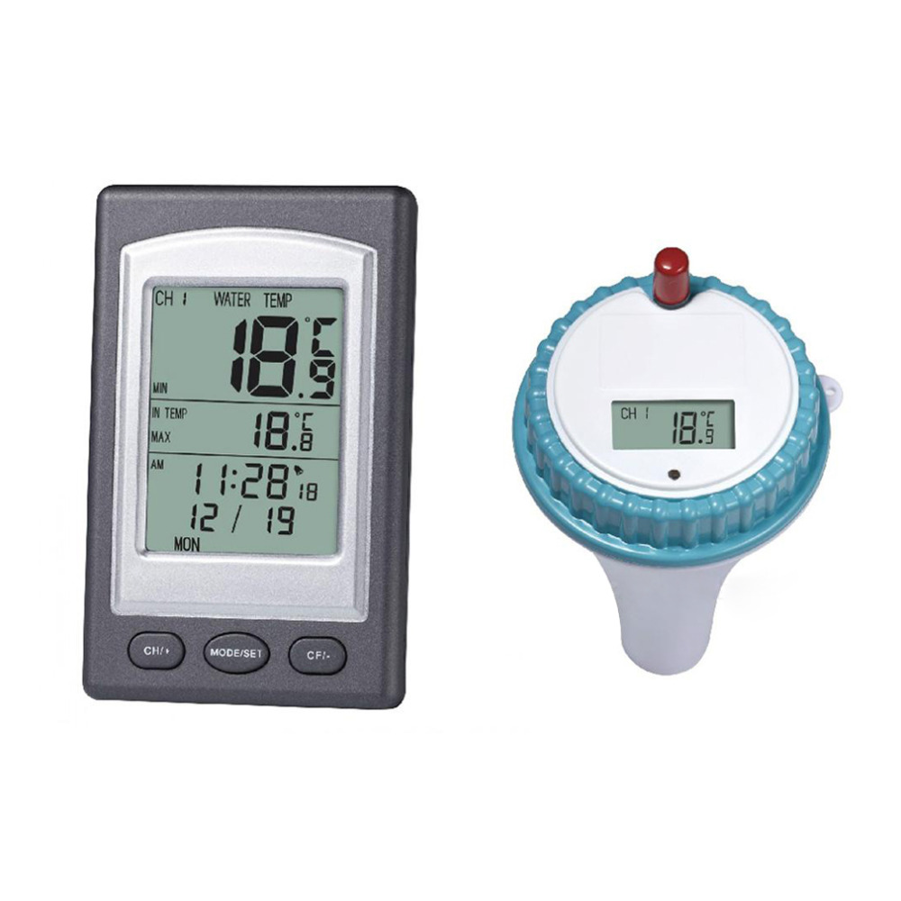 Wireless Pool Thermometer Hot Tub Home Swim Spa Water Temperature Meter Calendar Alarm Clock -40~60C Waterproof Outside Sensor