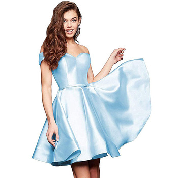 BGW HT32623 Sweetheart Satin A Line Off Shoulder Cocktail Dresses Sleeveless Robe Grande Taille Cocktail 2020 Mini Gown