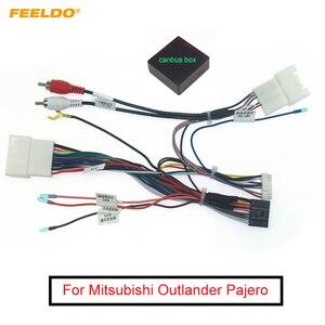 Feeldo carro 16pin cablagem de áudio com caixa canbus para mitsubishi outlander pajero estéreo instalação adaptador fio