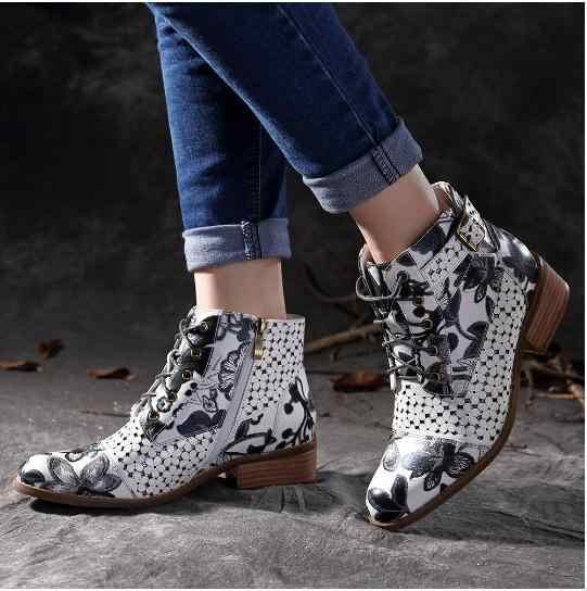 แฟชั่นผู้หญิงฤดูใบไม้ร่วงรองเท้าข้อเท้า Lace-Up พิมพ์ Vintage สั้น Med ชี้ Toe Lace-Up ฤดูหนาวรองเท้า Plus ขนาด