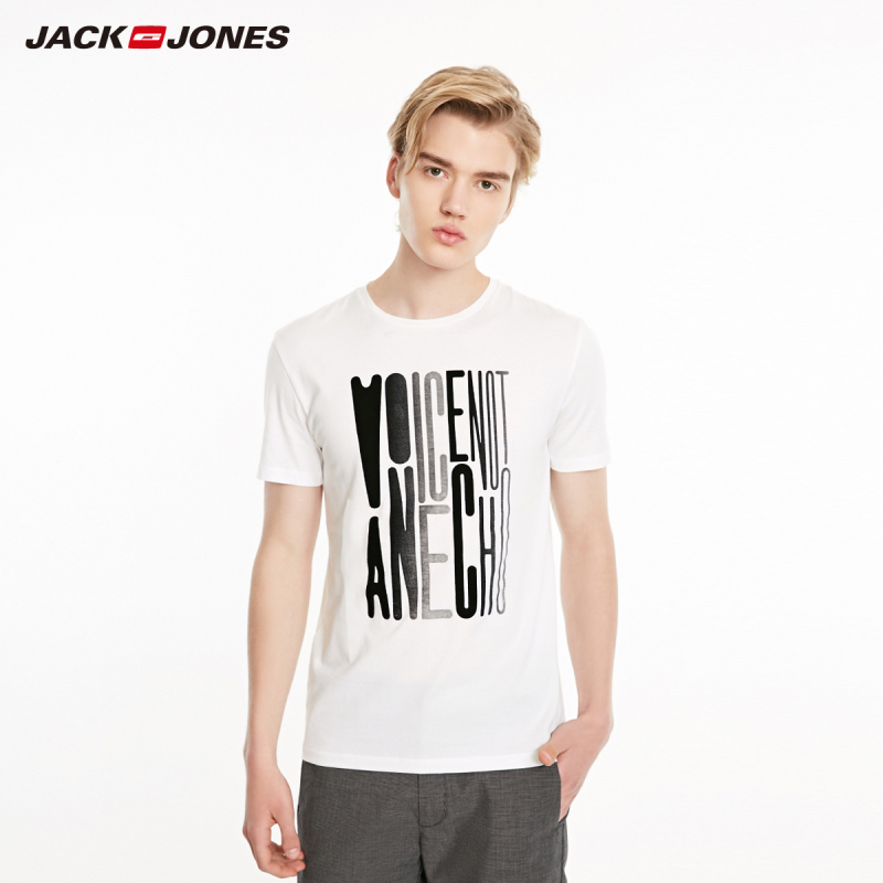 JackJones Men's Spring Fashion Gradient Letters Short-sleeved T-shirt Menswear Style| 219101557