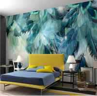 3D Nordic Minimalism Blue Feather Mural Modern Abstract Art Wall Wallpaper Fresco for Living Room Printed Wall Paper Roll Custom