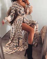 Женский Ретро винтажный богемный с длинными рукавами глубокий v-образный вырез с буквенным принтом, расшитые Длинные Макси платья каждый ...