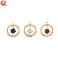 Design cordial 30 pçs 11*12mm acessórios de jóias/feitos à mão/diy fazendo/genuíno chapeamento de ouro/brinco achados/cz cristal encantos