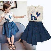 MERI AMMI/комплект детской одежды из 2 предметов для девочек, футболка с короткими рукавами и рисунком сердца+ джинсовое платье, юбки для детей 2-7 лет