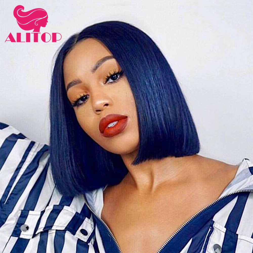 ALITOP Blue Bob Lace Front Human Hair Wigs Brazilian Remy Straight Short Lace Wig Pre Plucked with Baby Hair for Black Women