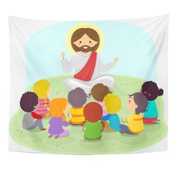 Children of Stickman Kids Listening to Jesus Christ Preaching Tapestry Home Decor Wall Hanging for Living Room Bedroom Dorm 50in image