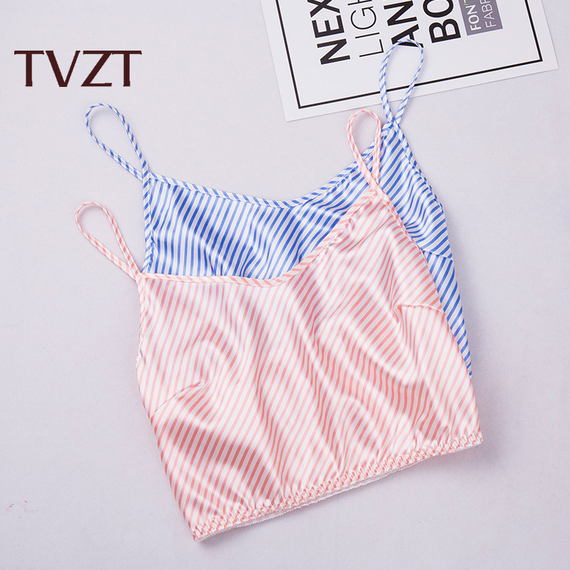Breathable Stripe And Comfortable Summer Pure Cotton Stripe Thin Sling Lovely Sexy Women's Sleeveless Pajama Home Suit