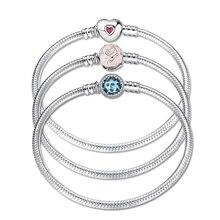 Anneler günü hediyesi otantik 100% 925 ayar gümüş yılan zincir kadınlar için bilezikler güzel CZ takı bilezik bileklik