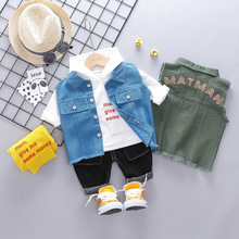 2019 New 2019 Toddler Infant Clothes Suits Autumn Baby Boys Clothing Sets Vest Hooded T Shirt Pants Children Casual Costume retail black skull baby boy autumn winter sets hooded jacket pants suits 2016 infant clothes toddler clothing children outerwear