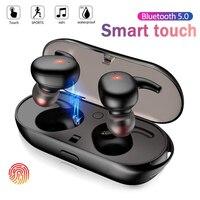 Auriculares TWS inalámbricos por Bluetooth 5,0, cascos con sonido estéreo 3D, con caja de carga, resistentes al agua