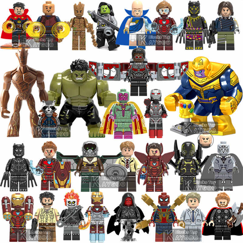 Marvel Compatibile legoings Avengers Super Heroes Infinity Guerra Thanos Guanto di Sfida Thor Iron Spider Man Building Blocks Figures Giocattoli