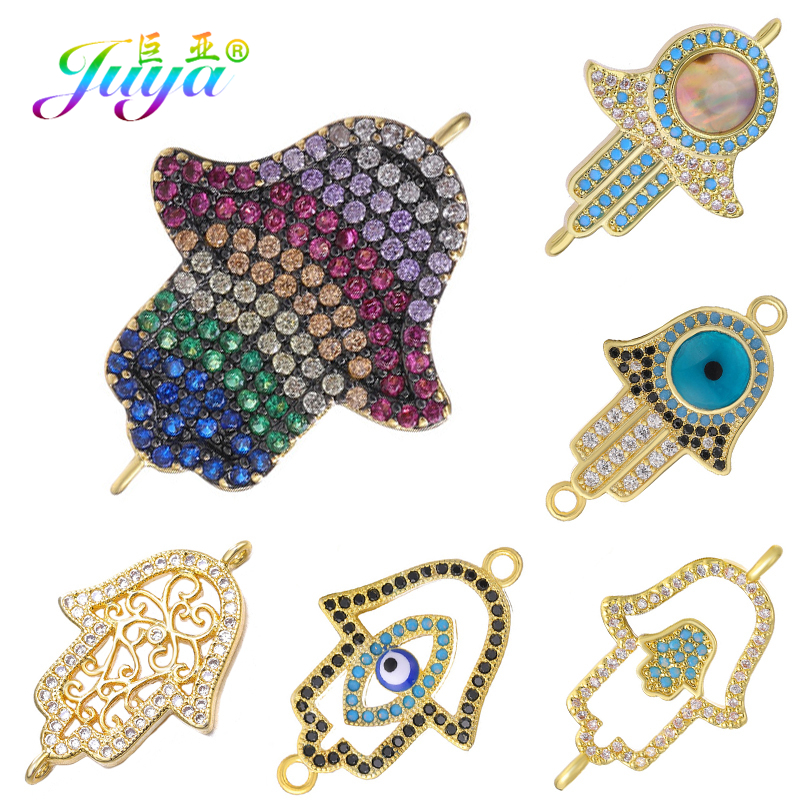 Juya DIY Turkish Jewelry Findings Hamsa Fatima Hand Charm Connectors For Women Men Bracelet Earrings Necklace Making Accessories