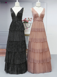 Image 5 - Robe De Soiree Ever Pretty Sexy V neck A line Sleeveless Ruffles Evening Dresses Long 2020 New Arrival Wedding Guest Party Gowns