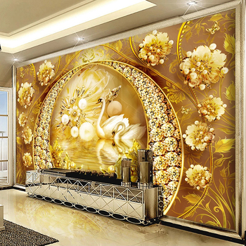 Custom 3D Wall Murals Wallpaper Swan Lake Golden Jewelry Diamond Flower Luxury Living Room Sofa TV Background Photo Wall Fresco