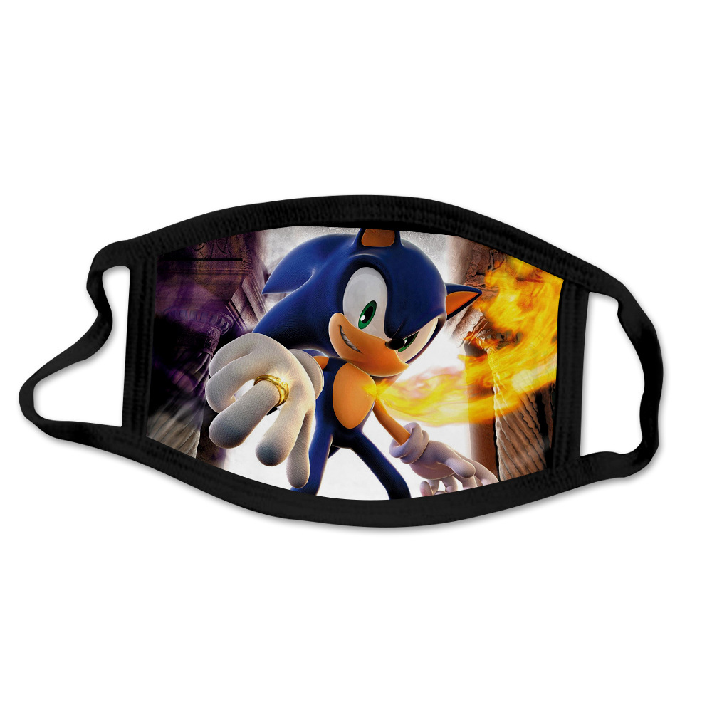Sonic The Hedgehog Kids Mouth Mask Breathable Face Mask Reusable Anti Pollution Wind Proof Mouth Cover For 4-13 Years