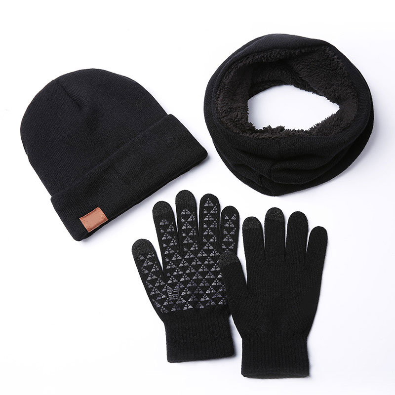 3PCS Autumn Winter Beanie Hat Scarf Gloves Sets Knitted Three-piece Suit Men And Women Wool Plus Velvet To Keep Warm New Arrival