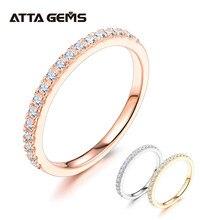ATTAGEMS – bague en argent Sterling 925 pour filles, Test en diamant rond, excellente coupe, Total 0.27 CT, Moissanite, bijoux de Cocktail