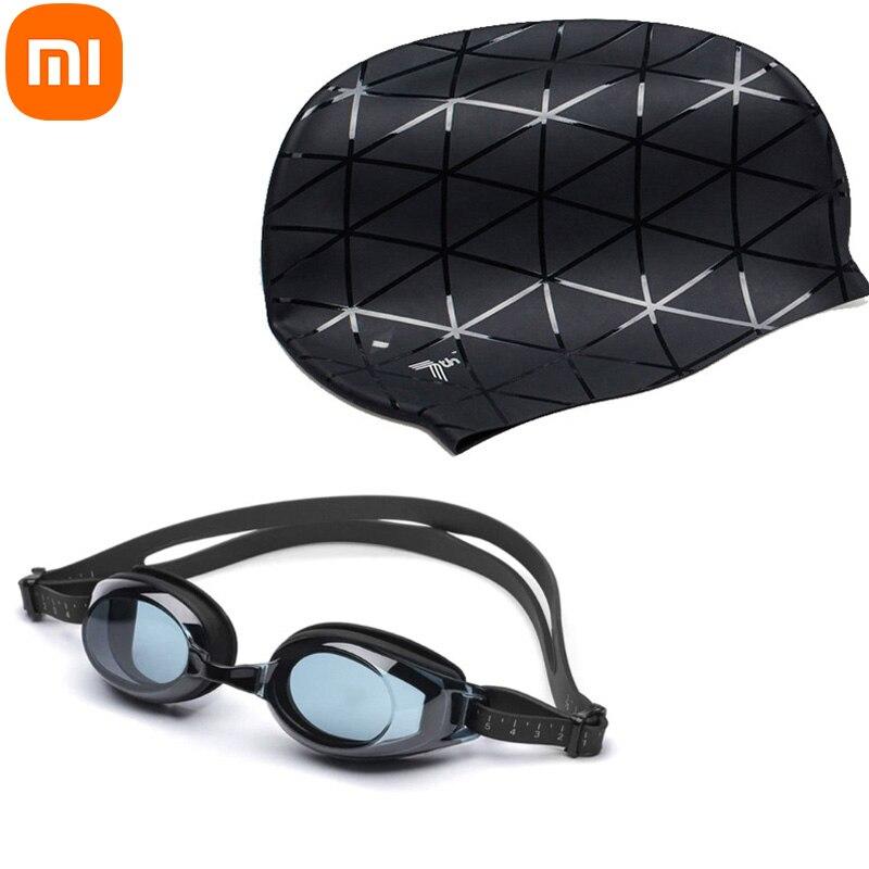Силиконовые Плавательные водонепроницаемые очки Xiaomi TS 7th, 3d-очки, спортивная шапка для бассейна, защитная шапка для ушей для взрослых мужчин...