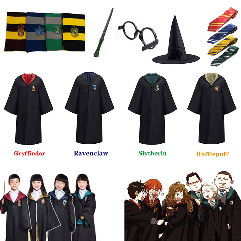 Harry Potter Robe Cloak Cape Scarf Magical Wand Tie Cosplay Uniform Suit Cosplay