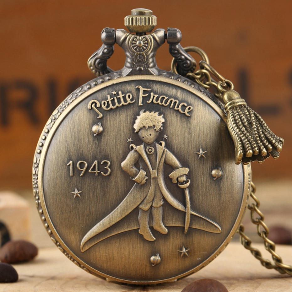 Retro 1943 France The Little Prince Quartz Pocket Watch Fob Necklace Watches Pendant Clock Gifts For Kids With Tassel Accessory