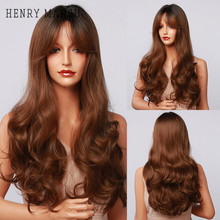 Brown Wigs Bangs Henry Margu Wavy Heat-Resistant Party Natural Women Cosplay Synthetic