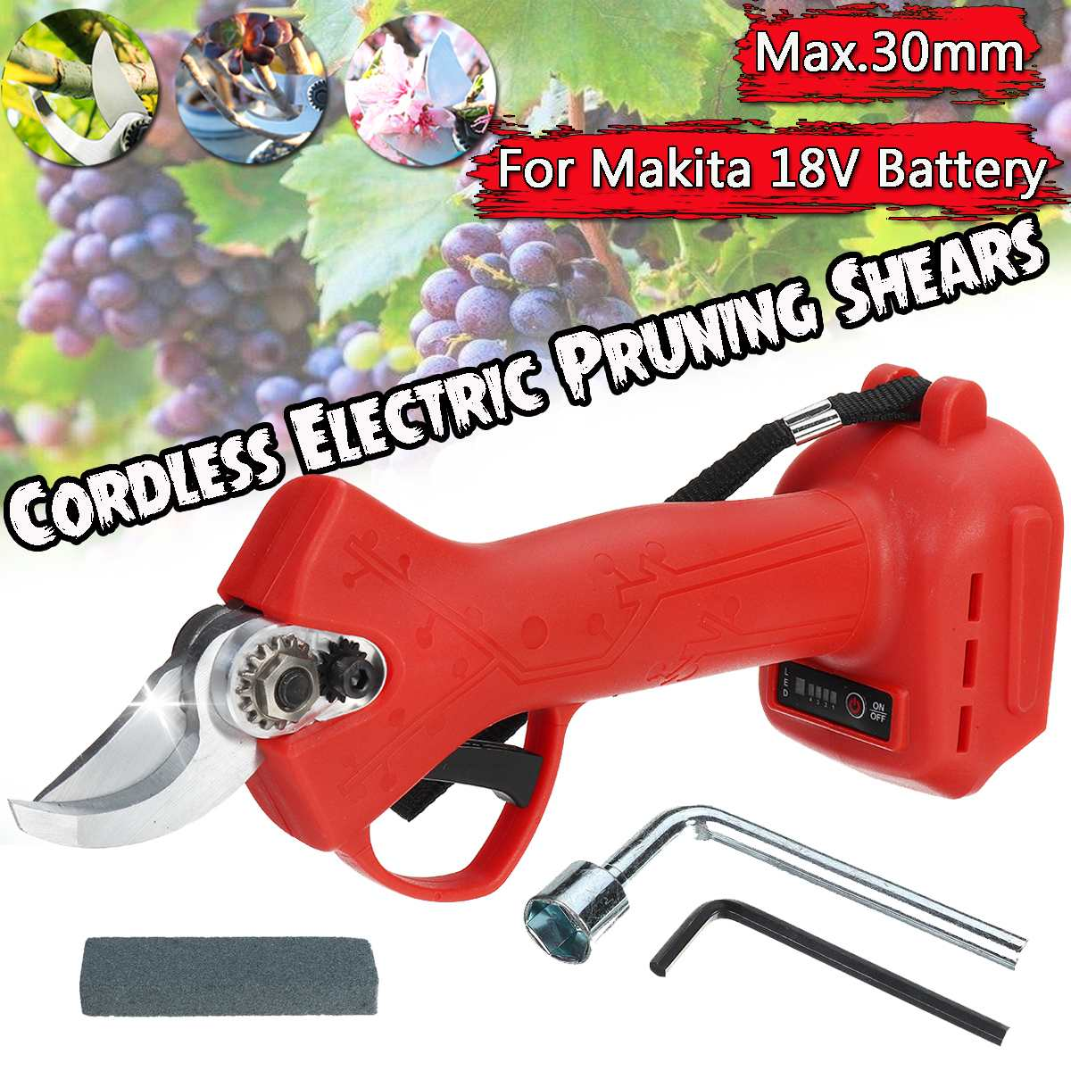 1PC Cordless Electric Pruner Pruning Shears Efficient Fruit Tree Bonsai Pruning Power Tool Branch Cutter for Makita 18V Battery
