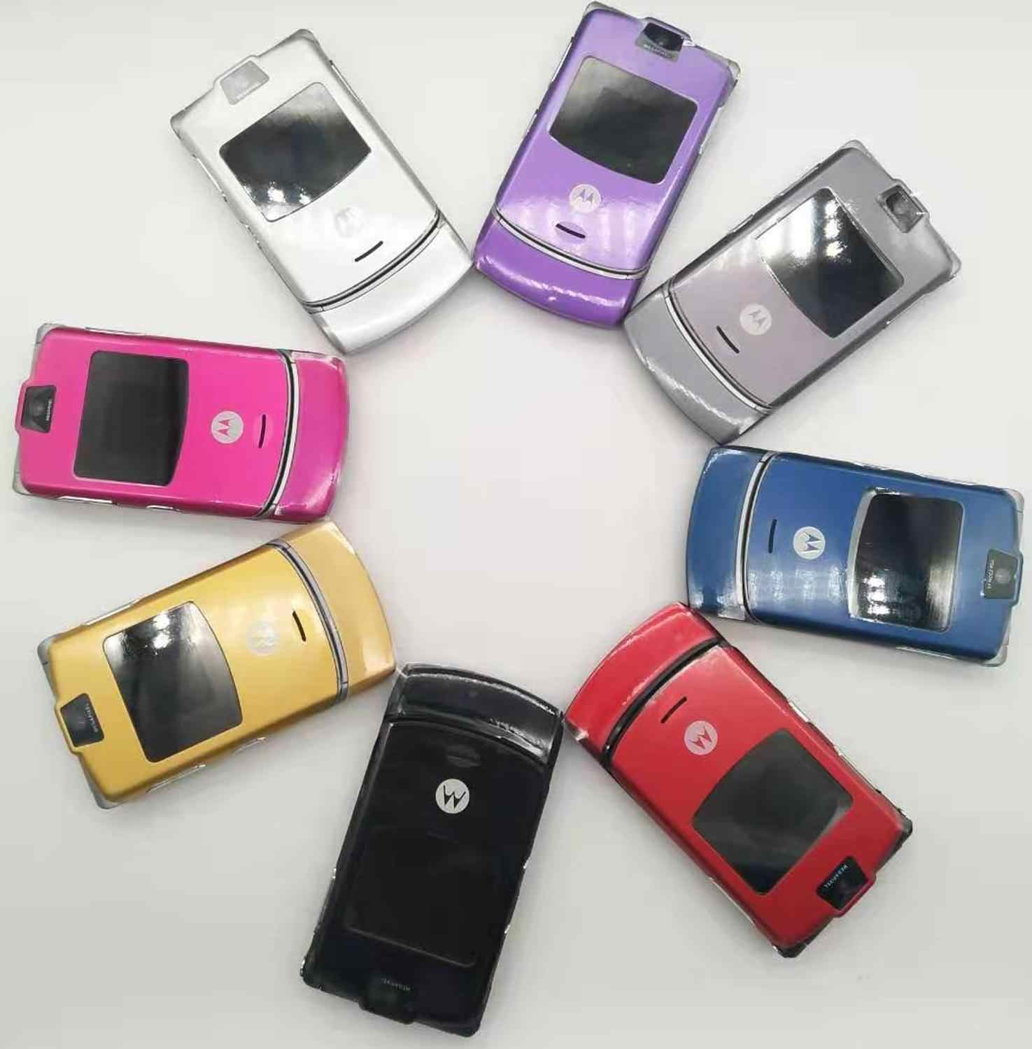 100% Original V3 World Version Flip GSM Quad Band Motorola Razr V3 mobile phone one year warranty Free shipping