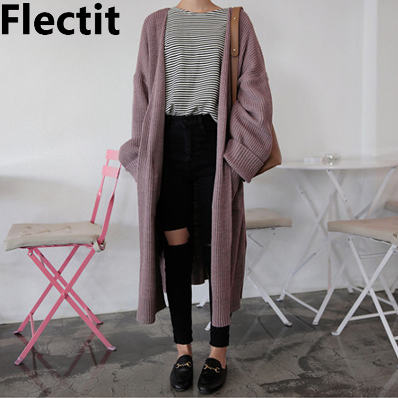 Flectit Women Long Cardigan With Pocket Soft Knit Cozy Comfy Open-Front Sweater Coat Spring & Fall Outfit *