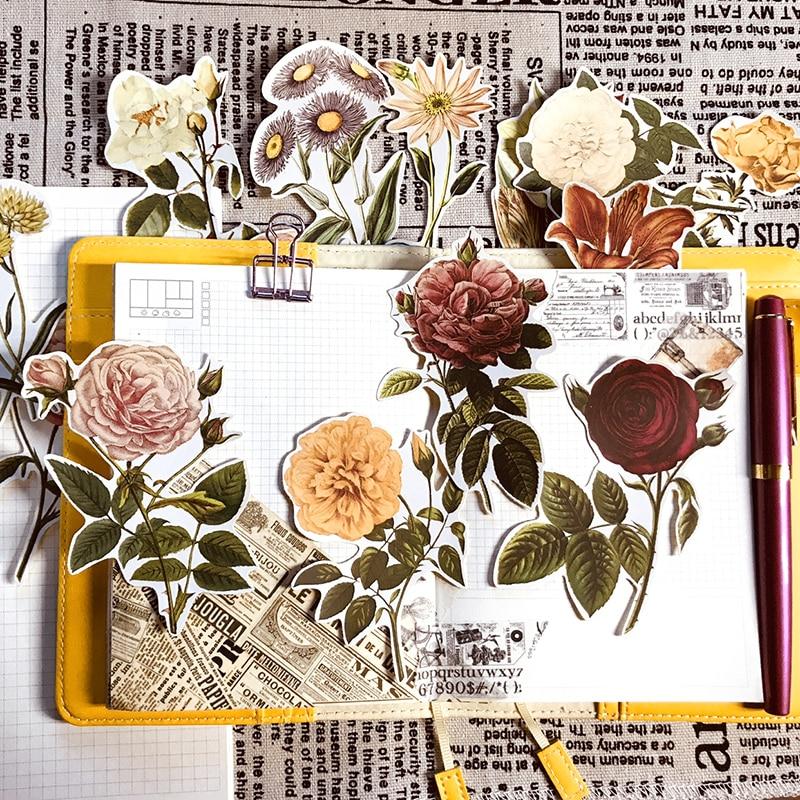 20PCS Retro Sticker Hand Account Material Rose Sticker Tn Hand Account Sticker Large Size Flower Photo Album DIY