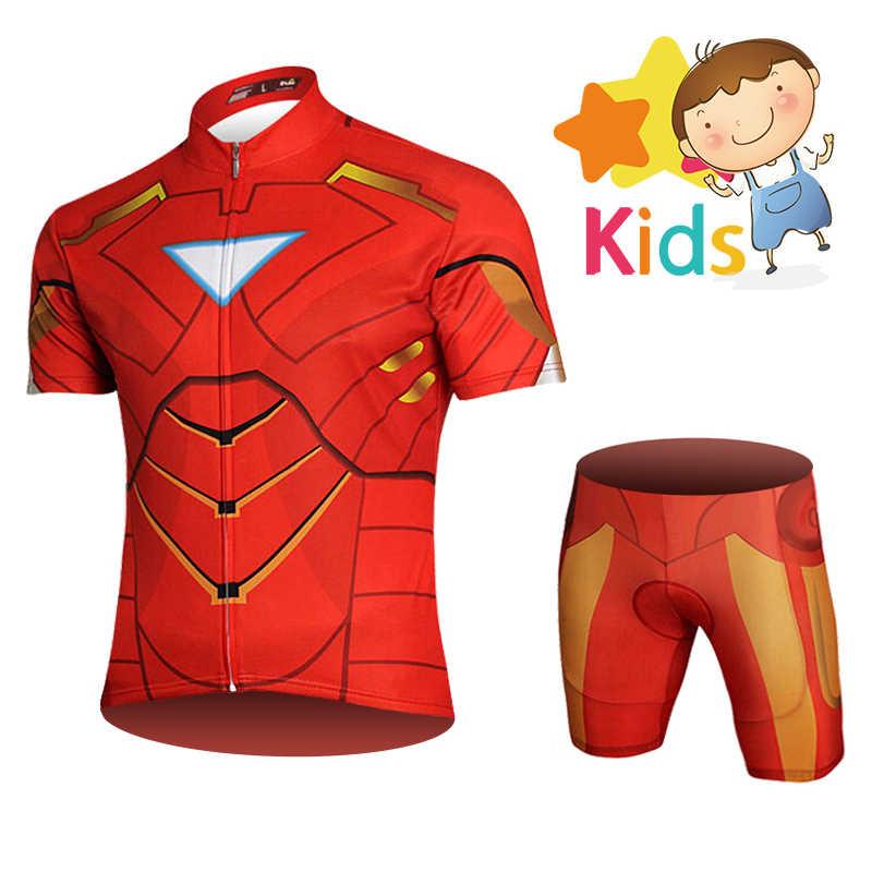 Marvel super herói roupas de ciclismo para crianças bicicleta wear pro ciclismo conjunto jérsei para crianças homem ferro ciclismo kit ropa ciclismo